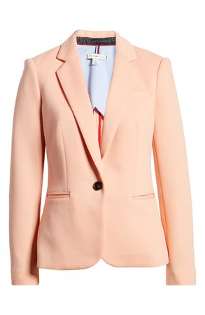 Tommy Hilfiger One Button Cotton Jacket | coral