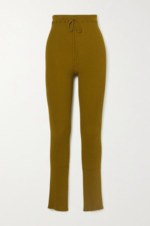 Ribbed-knit Slim-leg Pants - Army green