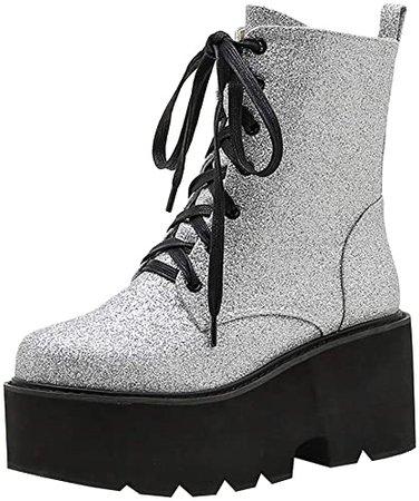 Amazon.com   Parisuit Womens Sequin Glitter High Heel Ankle Boots Chunky Lace Up Platform Combat Boots Goth Punk Dress Booties-Black Size 4   Ankle & Bootie