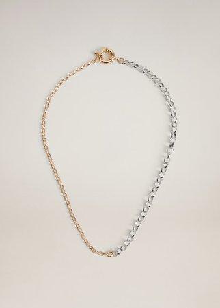 Mixed chain necklace - Women   Mango USA gold