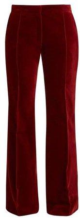 X Claire Thomson Jonville X Claire Thomson-jonville - Digital High Rise Flared Velvet Trousers - Womens - Dark Red