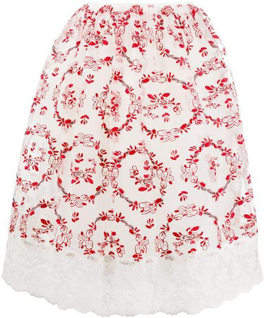 floral-embroidered tulle A-line skirt