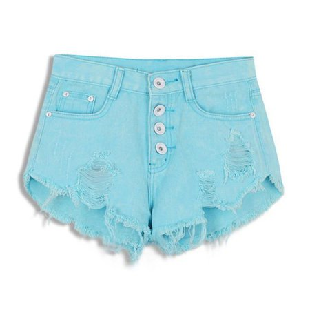 Distressed Jean Shorts Acid Washed Denim Candy Color | Kawaii Babe