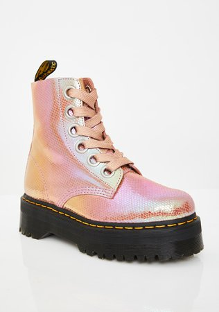 Dr. Martens Molly Pink Iridescent Boots | Dolls Kill
