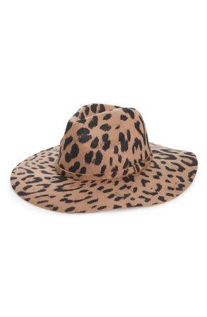 BP. Leopard Print Wool Panama Hat
