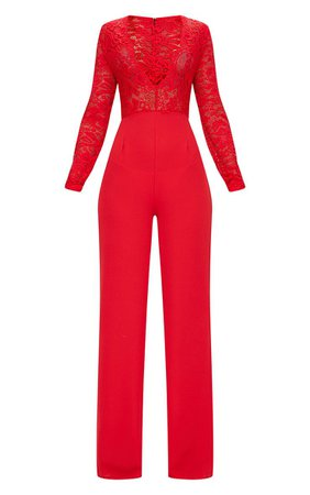 Red Long Sleeve Plunge Jumpsuit | PrettyLittleThing