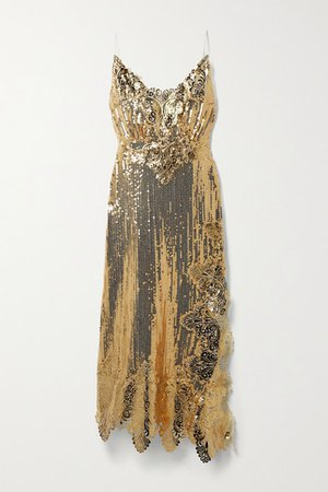 Asymmetric Metallic Guipure Lace-trimmed Sequined Georgette Midi Dress - Gold