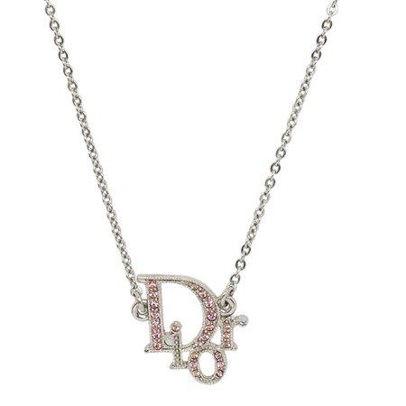 Buy Dior Logo Pink Crystal Silver Tone Necklace