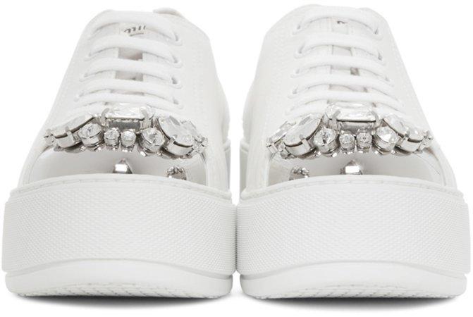 Miu Miu: White Platform Crystal Sneakers | SSENSE