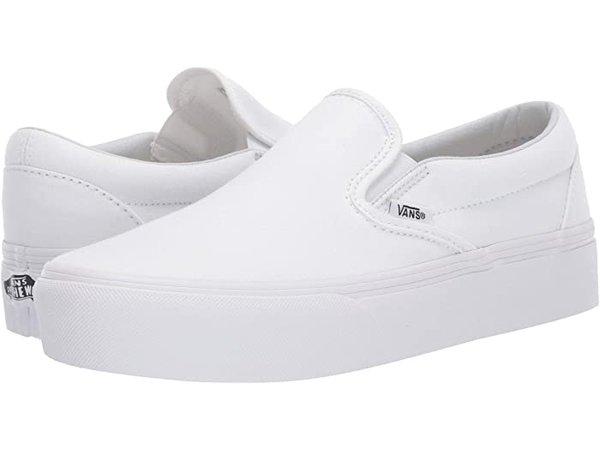 Vans Classic Slip-On Platform White   Zappos.com