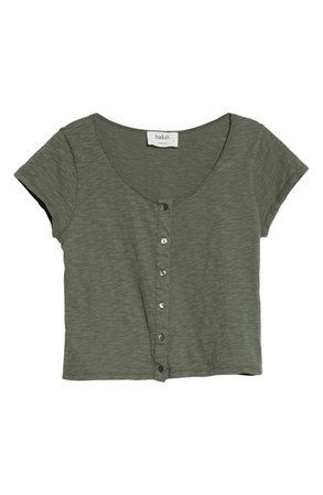ba&sh Verity Button Front T-Shirt | Nordstrom