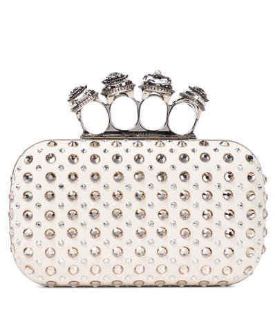 Alexander McQueen - Four Ring embellished suede clutch   Mytheresa