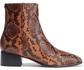 Aslen Snake-effect Leather Ankle Boots