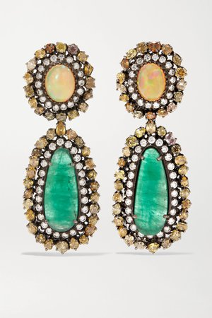Gold Blackened sterling silver and 18-karat gold multi-stone earrings | Amrapali | NET-A-PORTER