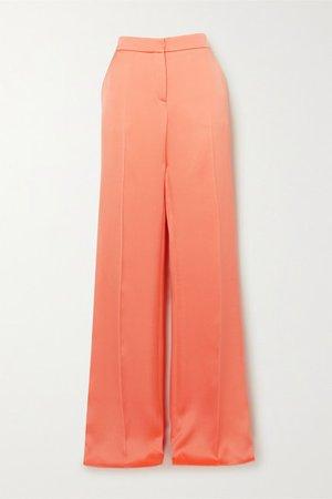 Satin Wide-leg Pants - Orange