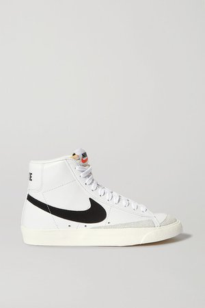 Blazer Mid Suede-trimmed Leather High-top Sneakers - White