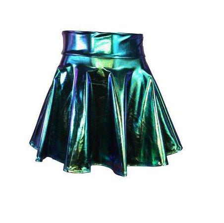 Holographic Oil Slick Metallic High Waisted Skater Skirt
