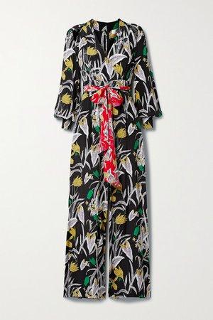 Hesy Belted Cold-shoulder Floral-print Silk-crepe Jumpsuit - Black