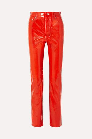 Patent-leather Straight-leg Pants - Red