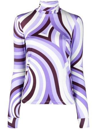 Raf Simons swirl print stretch-fit top purple 211W151190095000 - Farfetch