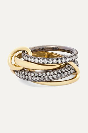 Gold Vega set of four 18-karat gold and rhodium-plated sterling silver diamond rings | Spinelli Kilcollin | NET-A-PORTER