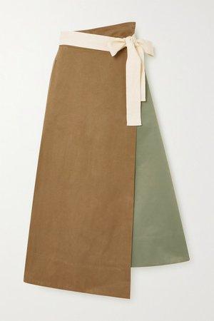 Net Sustain Rivetti Asymmetric Color-block Cotton Skirt - Army green