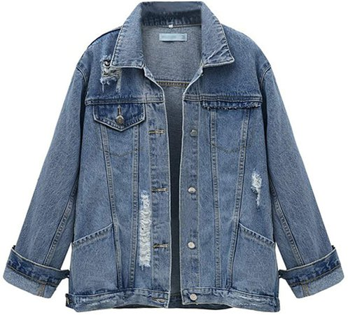SOMTHRON Women's Distressed Denim Jeans Outfits Coat Spring Fall Ripped Jeans Outerwear Denim Jacket(324BE-2XL) at Amazon Women's Coats Shop