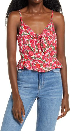 Tie Front Smocked Back Cami