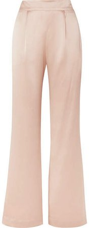 La Collection - Gabrielle Silk-satin Wide-leg Pants - Pink