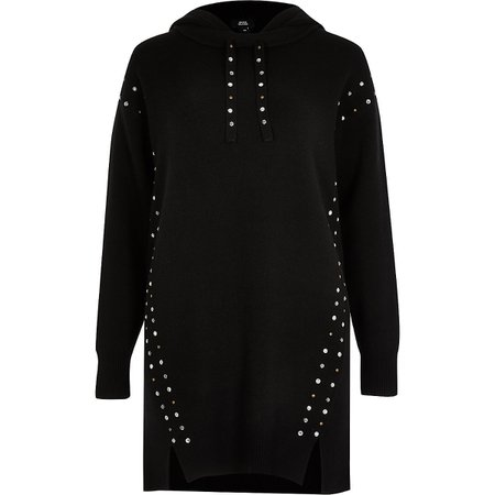 Black studded gem long line hoody | River Island