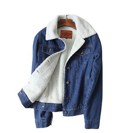 EryRon Women Spring Autumn Winter swool Jean Coat with 4 Pockets Long Sleeves Warm Jeans Coat Outwear Denim at Amazon Women's Coats Shop