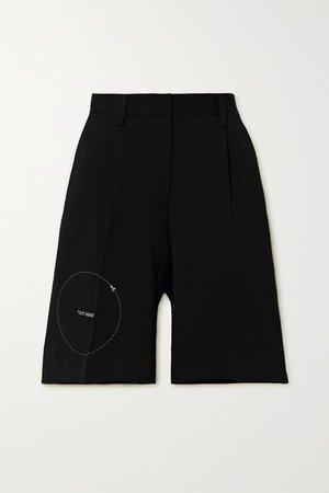 Embroidered Gabardine Shorts - Black