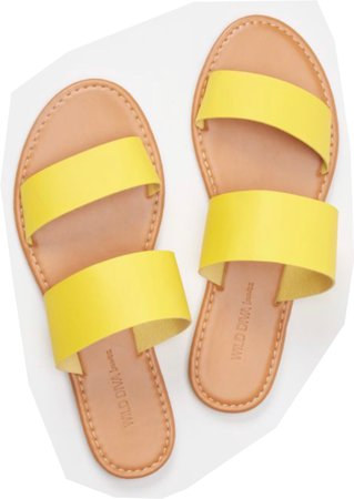 yellow two straps slide sandals