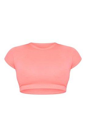 Basic Neon Pink Short Sleeve Crop T Shirt   PrettyLittleThing USA
