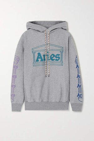 Printed Cotton-jersey Hoodie - Gray