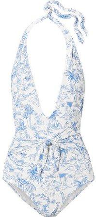 Tie-detailed Printed Halterneck Swimsuit - Blue