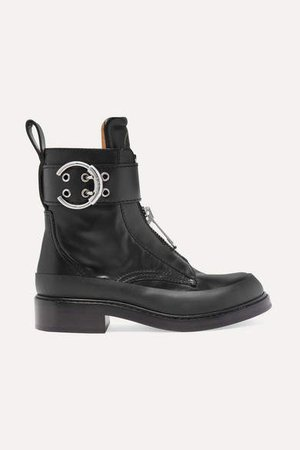 Roy Rubber-trimmed Leather Ankle Boots - Black