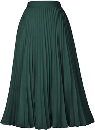 Kate Kasin Women's High Waist Pleated A-Line Swing Skirt KK659 at Amazon Women's Clothing store