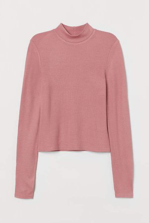 Ribbed Mock-turtleneck Top - Pink