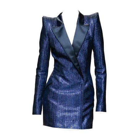 Blue Sequin Blazer Dress