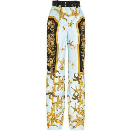 Versace Printed Silk Faille Pants