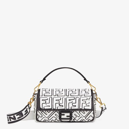 White nappa leather FF print bag - BAGUETTE | Fendi