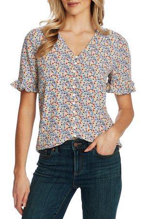 CeCe Ruffle Moroccan Ditsy Blouse | Nordstrom