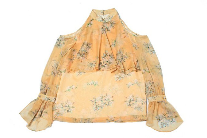 NOT YOUR ROSE Off-Shoulder Frill Blouse Yellow │Curated Collections of Global Independent Designers