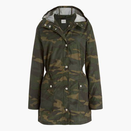 Petite camo midi-length raincoat with snaps