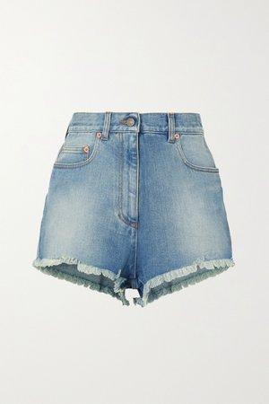 Blue Appliquéd frayed denim shorts | Gucci | NET-A-PORTER