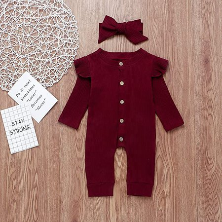 Amazon.com: US Newborn Baby Girl Boy 2Pc Autumn Clothes Set Knitted Romper Ruffle Long Sleeve Jumpsuit Winter Outfits: Clothing