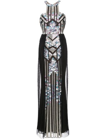 Marchesa Notte Pleated Sequined Column Gown | Farfetch.com