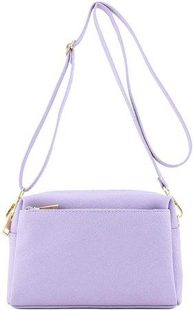 Triple Zip Small Crossbody Bag (Lavender): Handbags: Amazon.com
