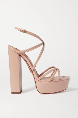 Pastel pink Gin 140 leather platform sandals | Aquazzura | NET-A-PORTER